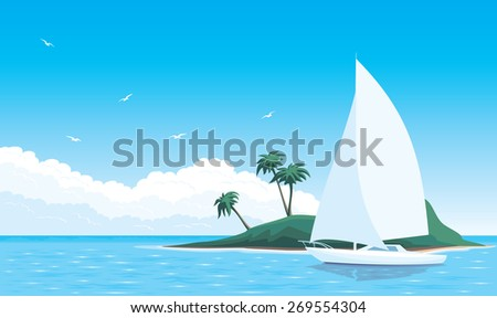 vector illustration yacht