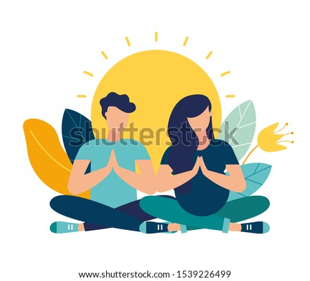 Vector illustration. yoga health benefits of the body, mind and emotions, a pregnant woman with her partner in a yoga pose meditate. preparing parents for childbirth vector