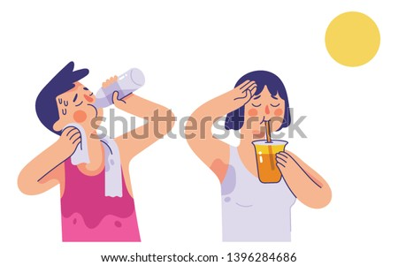 vector illustration young man and woman drinking water and orange juice in very hot summer days, boy and girl sweating after do sport