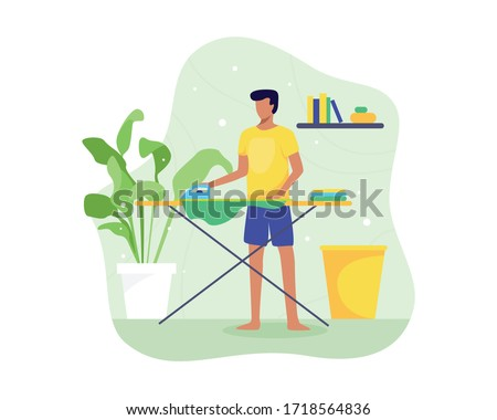 Vector illustration Young man ironing clothes. Ironing and folding clothes routine, Man ironing clothes on an ironing board. Cartoon house husband, Housekeeping theme. Vector in flat style