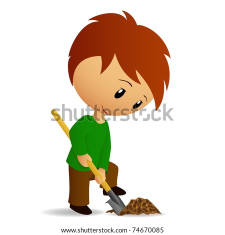 Vector illustration. Young Man Working digger with spade