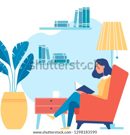 Vector illustration. Young woman's comfortable sitting in a chair and  reading a book
