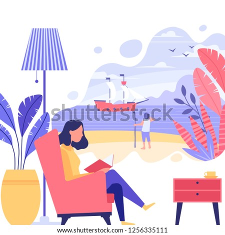 Vector illustration. Young woman's reading a book and imagining herself as a main character