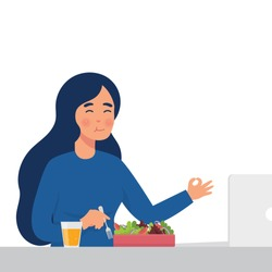 vector illustration young worker eat salad in her office, healthy lifestyle illustration of woman eat raw vegetables for lunch