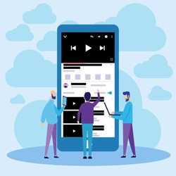 Vector Illustration. Youtube Mobile Online Video Streaming. Flat Design Can Use For, Landing Page, Mobile App, Poster, Banner, Flyer, Template, UI, Web.