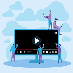 Vector Illustration. Youtube Web Player Online Video Streaming. Flat Design Can Use For, Landing Page, Mobile App, Poster, Banner, Flyer, Template, UI, Web.