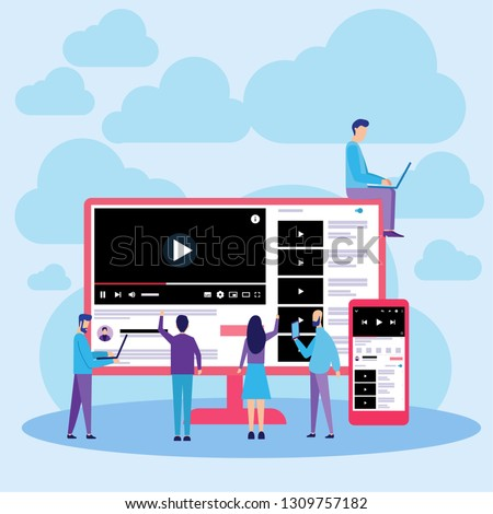 Vector Illustration. Youtube Web Responsive Online Video Streaming. Flat Design Can Use For, Landing Page, Mobile App, Poster, Banner, Flyer, Template, UI, Web.
