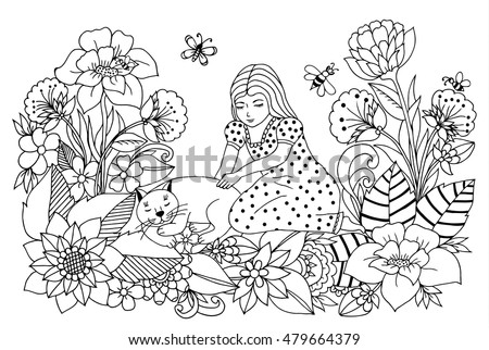 Vector Illustration Zen Tangle Girl With A Cat In The Flowers Dudling Coloring Book