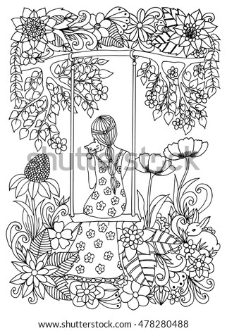Vector illustration Zen Tangle girl with a kitten on a swing. Dudling. Coloring book anti stress for adults. Black and white.