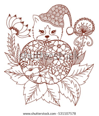 Oriental Vector Illustration Zentagl A Cat Sitting Behind An Apple From Flowers