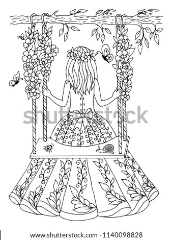 Vector illustration zentangl. Girl swinging on a swing among the flowers. Coloring book. Antistress for adults and children. The work was done in manual mode. Black and white.