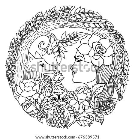 Vector Illustration Zentangl Girl With A Rose Surrounded By Wolf And An Owl