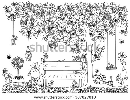 Vector illustration zentangl park, garden,  spring: a bench, a tree with apples, flowers,  swing, doodle, zenart, dudling. Coloring anti stress for adults. Black and white.