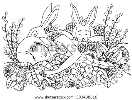 Vector Illustration Zentangl Sleeping Girl And Hares Doodle Drawing Pen Coloring Page For Adult