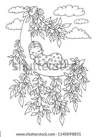 Vector illustration zentangl. The moon on which the baby sleeps is entangled in the branches of a tree. Coloring book. Antistress for adults and children. The work was done in manual mode.