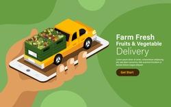 Vector illustrations concept online fruits & vegetables delivery service. Farm fresh food mobile application. Vector illustrate.