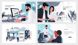 Vector illustrations for business, finance, cover, banner, poster or brochure design. Financial administration concept. Drawings of work in the office and in the team