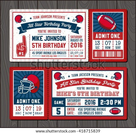 Vector illustrations for Invitation tickets for Football themed events