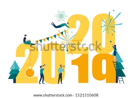 Vector illustrations little people get ready for the New Year, are engaged in decoration, the inscription New Year 2020 replaces 2019