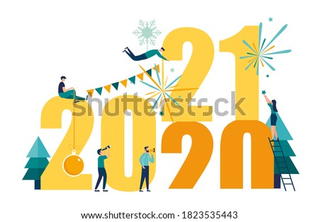 Vector illustrations little people get ready for the New Year, are engaged in decoration, the inscription New Year 2021 replaces 2020