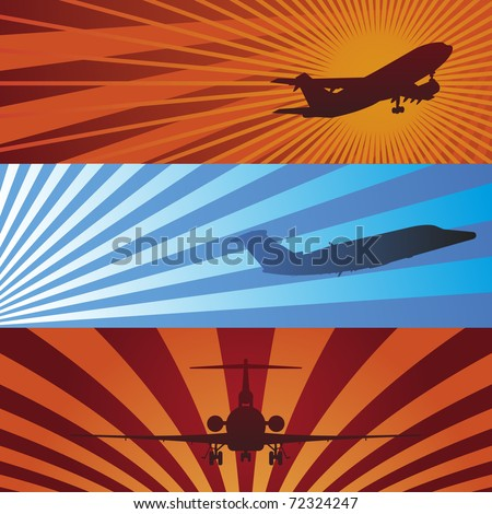 Vector Illustrations of Airplanes in Flight Banners - stock vector