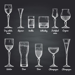 Vector illustrations of alcoholic drinking glasses on black chalkboard. Vector drawing pictures alcohol drink sketch for bar menu dry wine and liquor, vodka and whiskey