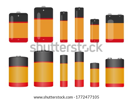 Vector illustrations of battery icon set. Isolated on white