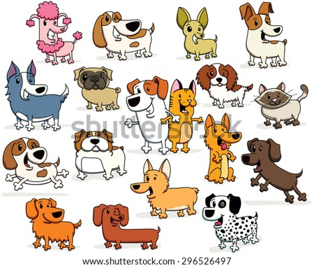 Vector Illustrations of Cartoon Dogs and Cats of all different Breeds and colors