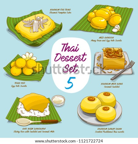 Vector illustrations of colorful Thai dessert  set (Khanom Thai)