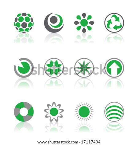 Vector illustrations of company logos in green and gray isolated on a white background