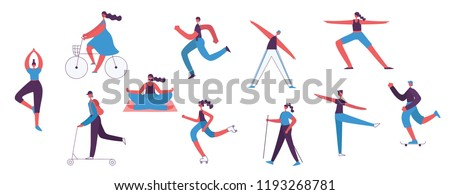 Vector illustrations of Healthy lifestyle people. Roller skate, bicycle, walking and skating sport characters design elements in flat style