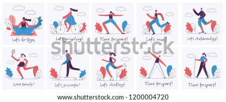 Vector illustrations of Healthy lifestyle. Roller skate, bicycle, tennis, walking and skating sport design elements in flat style