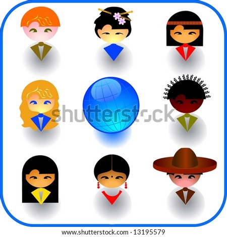 Vector illustrations of imaginary multi-ethnic people icon