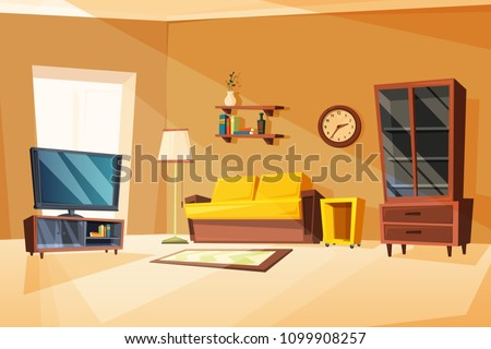 Vector illustrations of living room interior with different furniture items. Apartment in home with clock and sofa