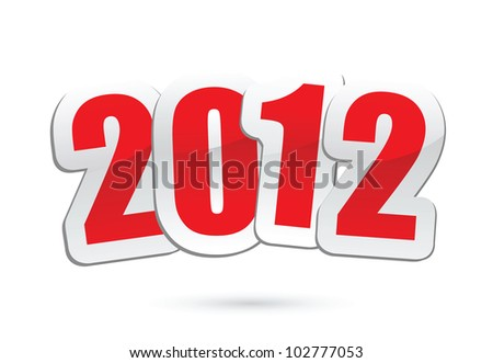 vector illustrations of new year greetings for 2012. - stock vector