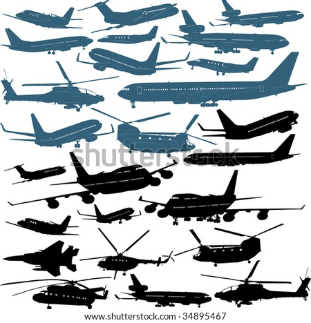 Vector illustrations of passenger airliners, military helicopters - stock vector