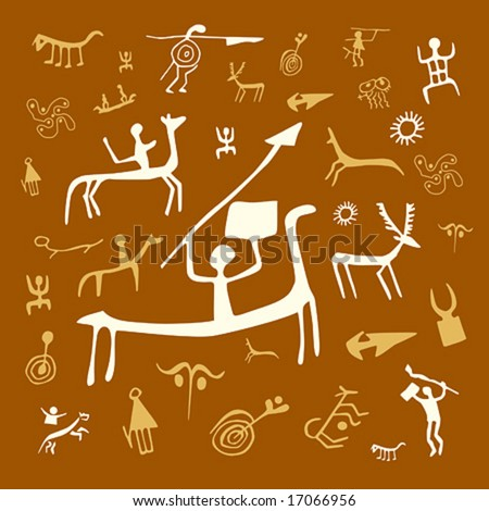 Vector illustrations of rock drawings at white and yellow background