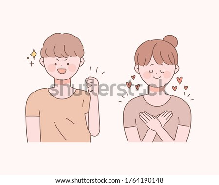 Vector illustrations of self-esteem and self-esteem. Hand-drawn style cute character. Foto stock ©
