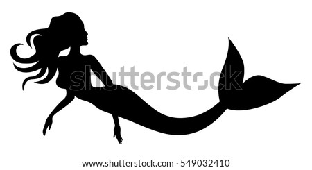 vector illustrations of silhouette of swimming beautiful mermaid