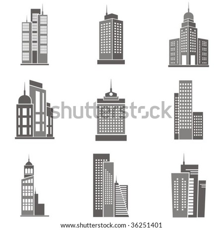 Vector illustrations of skyscrapers.