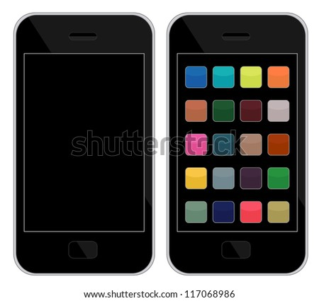 Vector illustrations of smart phones, one clean, another with icons