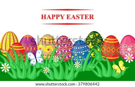 Vector illustrations of spring Easter card with cartoon decorative eggs in grass on meadow #379806442