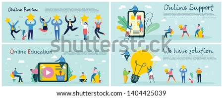 Vector illustrations of the office concept business people in the flat style. We have solution, Online review, Online support, online education and mobile business concept