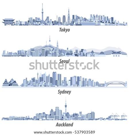 vector illustrations of tokyo