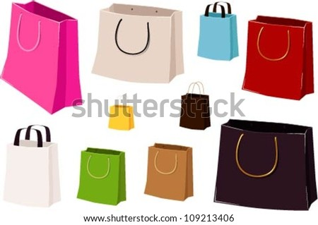 Vector illustrations of various shopping bags without brand names on them.