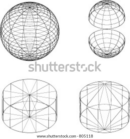 Vector illustrations of various wireframe 3d shapes - stock vector