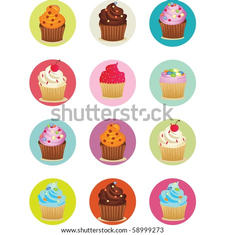 vector illustrations of yummy cupcakes printable sheet in circles