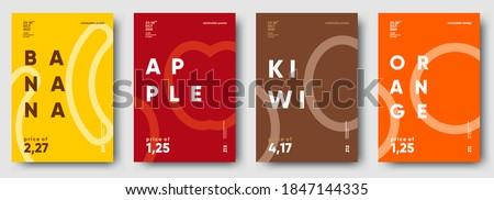 Vector illustrations. Set of minimalistic fruit posters or price tags. Banana, apple, kiwi, orange.