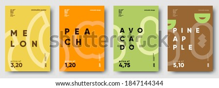 Vector illustrations. Set of minimalistic fruit posters or price tags. Melon, peach, avocado, pineapple.