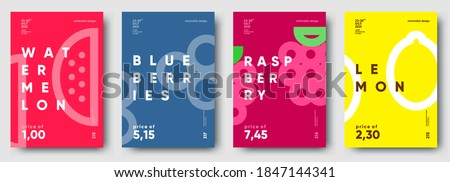 Vector illustrations. Set of minimalistic fruit posters or price tags. Watermelon, blueberry, raspberry, lemon.